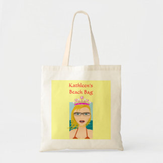 Summer Beach Princess with Tiara Crown Custom Name Budget Tote Bag