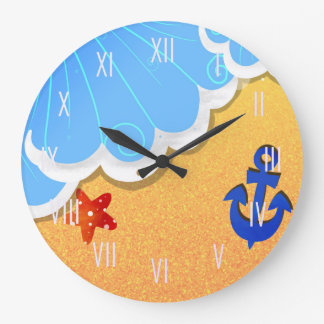 Summer Beach round wall clock