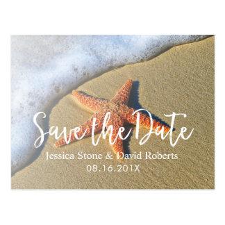 Summer Beach Starfish Wedding Save the Date Postcard