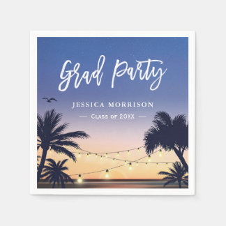 Summer Beach Sunset Palm Tree Graduation Party Paper Napkin