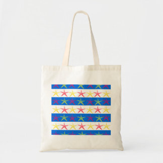 Summer Beach Theme Starfish Blue Striped Pattern Tote Bag