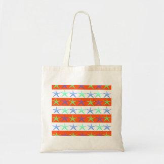 Summer Beach Theme Starfish on Orange Stripes Tote Bags