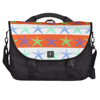 Summer Beach Theme Starfish on Orange Stripes Laptop Bag