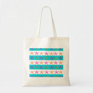 Summer Beach Theme Starfish on Teal Stripes Budget Tote Bag