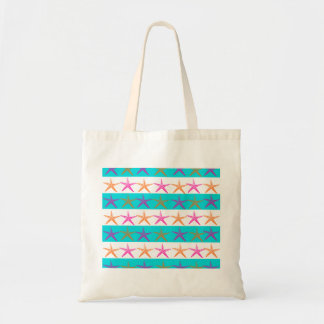 Summer Beach Theme Starfish on Teal Stripes Budget Tote Bag