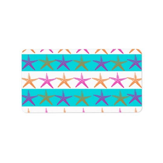 Summer Beach Theme Starfish on Teal Stripes Label