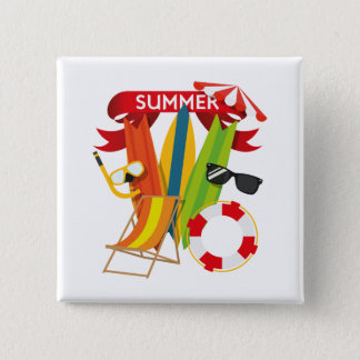 Summer Beach Watersports 2 Inch Square Button