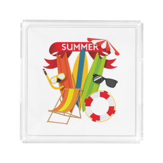 Summer Beach Watersports Acrylic Tray
