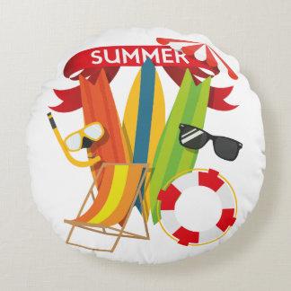 Summer Beach Watersports Round Pillow
