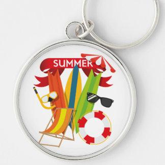 Summer Beach Watersports Silver-Colored Round Keychain
