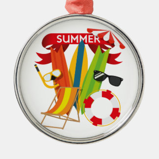 Summer Beach Watersports Silver-Colored Round Ornament