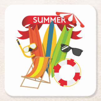 Summer Beach Watersports Square Paper Coaster
