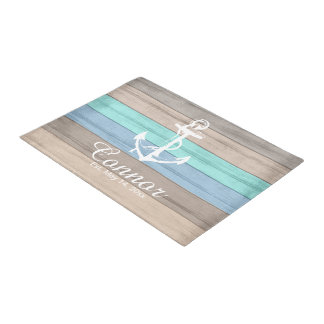 Summer Beach Wood Nautical Stripe Doormat | Zazzle