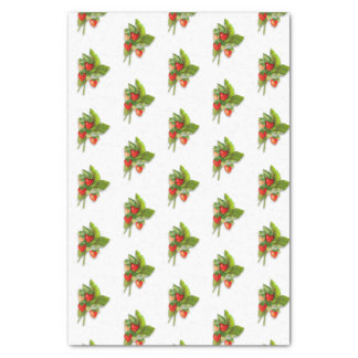 Summer Berries, Realistic Strawberry Vintage Image Tissue Paper