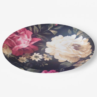 """Summer Bloom Paper Plates 9"""" 9 Inch Paper Plate"""