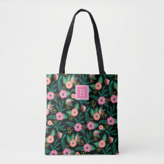 Summer Blooms | Pink Floral Monogram Tote Bag