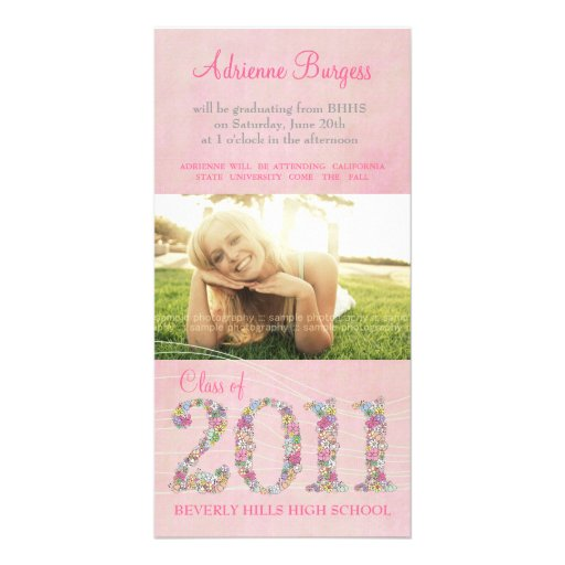 Summer Blossoms Class of 2011 Graduation PhotoCard Personalized Photo Card