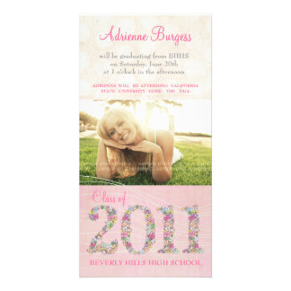 Summer Blossoms Class of 2011 Graduation PhotoCard Photo Greeting Card