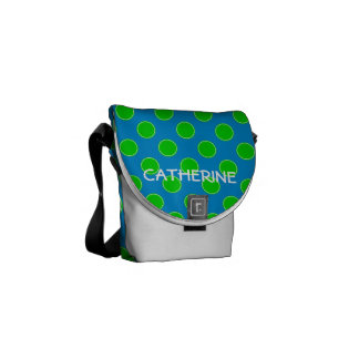 Summer Blue and Green Polka Dot Personalized Commuter Bag