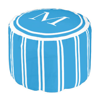Summer Blue and White Double Stripe Monogram Pouf