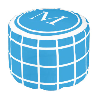 Summer Blue and White Lattice Monogram Pouf