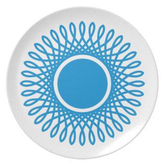 Summer Blue Bursts on White Plate
