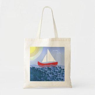 Summer Blue Deep Sea Sunshine Bright Sailing Boat Tote Bag