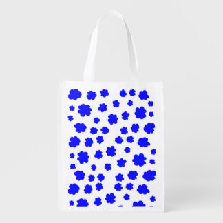 Summer blue flowers Reusable Bag by Gemma Orte Market Tote