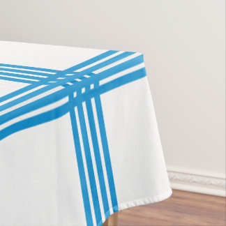 Summer Blue Four Stripe Plaid on White Tablecloth