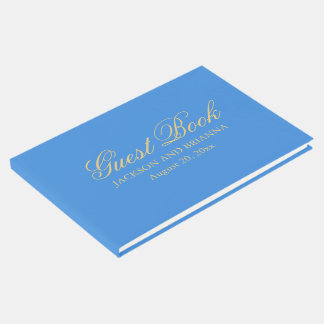 Summer Blue & Gold Personalized Wedding Guest Book