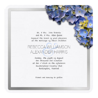 Summer Blue Hydrangea Square Wedding Invitations