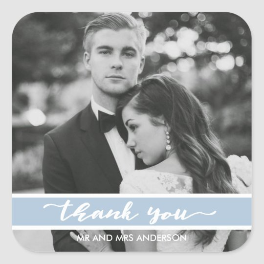Summer Blue Script Wedding Photo Thank You Square Sticker