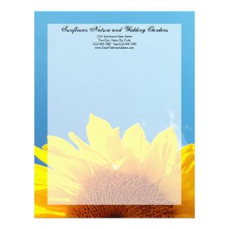 Summer Blue Sky with Yellow Sunflower Letterhead