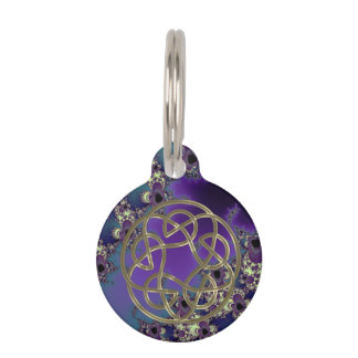 Summer Blues Fractal Celtic Knot Wine Charm Pet Tag