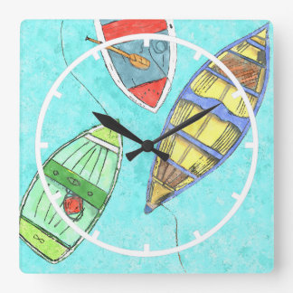 Summer Boats at Rest Wall Clock
