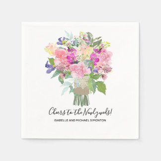 Summer Bouquet Cheers to the Newlyweds Custom Napkin