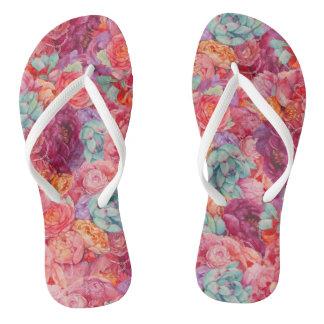 Summer bouquet flip flops