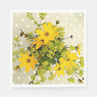 Summer Bouquet, Sunshine Yellow Flowers Disposable Napkins