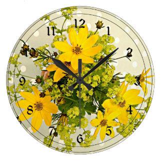 Summer Bouquet, Vibrant Yellow Large Clock