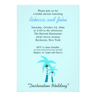 Summer Breeze Palm Tree 5x7 Bridal Shower Invite