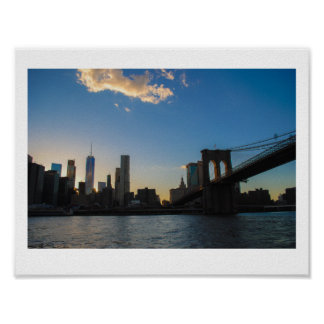 Summer Brooklyn Bridge Sunset Poster
