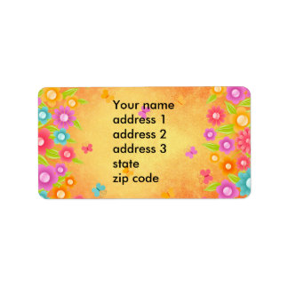 Summer butterfly and flowers Address labels