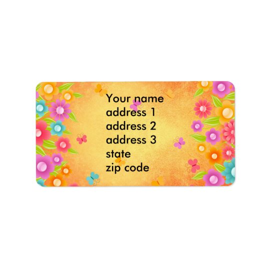 Summer butterfly and flowers label