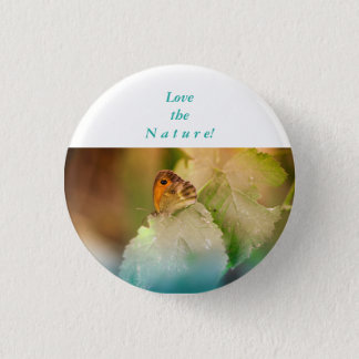 Summer butterfly on a leaf 1 inch round button