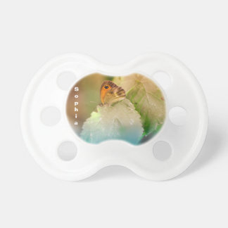 Summer butterfly on a leaf pacifier