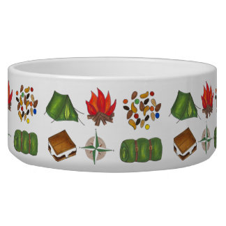 Summer Camp Camping Compass Tent S'mores Pet Bowl