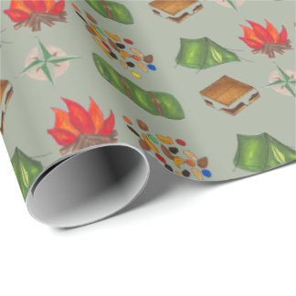 Summer Camp Camping Hiking Wrapping Paper