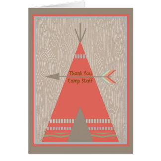 Summer Camp Card to Thank Staff with Orange Tent