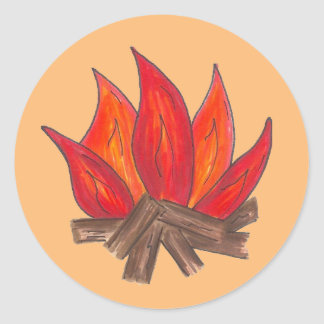 Summer Camp Fire Campfire Blaze Flames Camping Classic Round Sticker