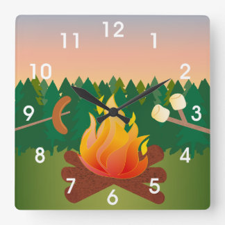 Summer Camp Marshmallow Smores Square Wall Clock